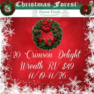 ChristmasForest.com 20 Inch Crimson Delight Wreath Giveaway