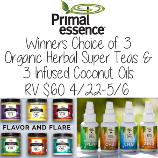 Winners choice of 3 Super Teas and 3 Coconut Oils from Primal Essence RV $60
