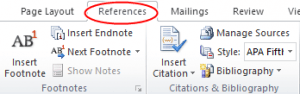 MS Word Reference Feature