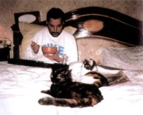 Freddie with his cats - late 80's