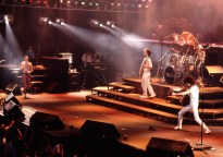 Queen live on stage on the 'Works' tour at Wembley Arena, London in September 1984