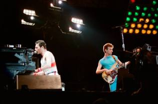 Queen live on stage at the Milton Keynes Bowl