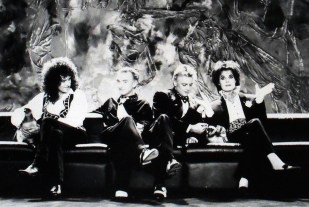 Queen on the set of the promotional video for 'I'm Going Slightly Mad' at Limehouse Studios, London in February 1991