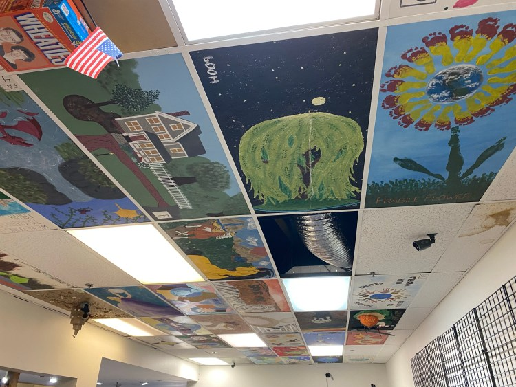 The Whiz - ceiling tiles painted