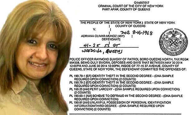 Foto de Adriana Olivar-Muñoz y copia de la acusación por robo y fraude de la Fiscalía de Queens.