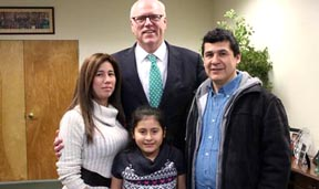 Rep. Crowley meets with Woodsiders Zully Gallo, Javier Gomez and their daughter Catalina at his Queens District Office.