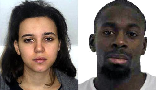 Hayat Boumeddiene (L) and Amedy Coulibaly (R)