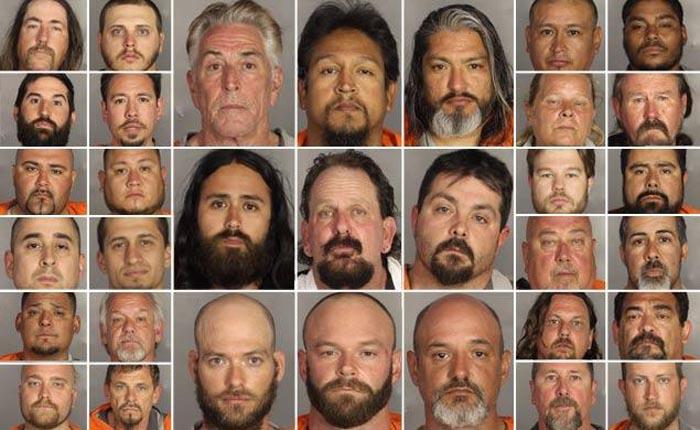 Algunos de los pandilleros arrestados en Waco, Texas.