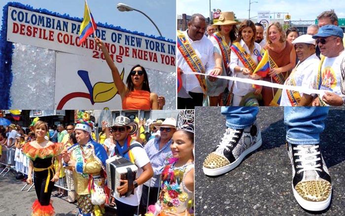 En dirección de las manecillas del reloj, Miss Universo Paulina Vega, el corte de cinta antes del Desfile Colombiano de Nueva York 2015, los tenis del DJ Alex Sensation y una agrupación musical compartiendo con el público.