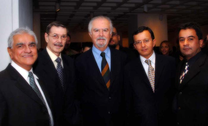 From left, Hector Mendez, Carlos Velez, artist Fernando Botoro, German Santamaria and Javier Castaño.