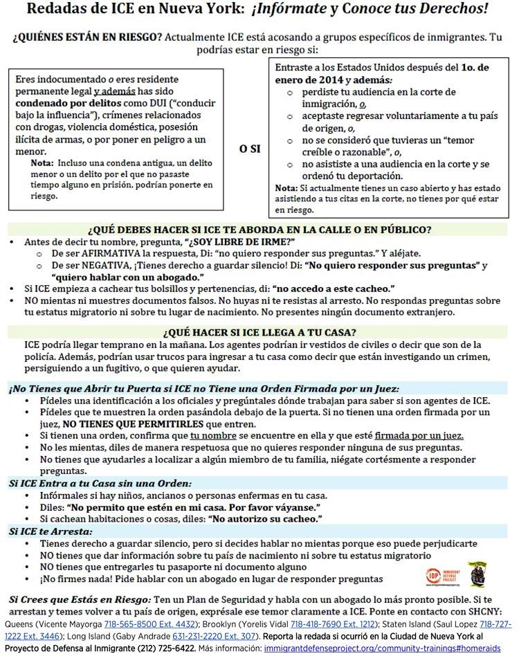 Manual producido por Se Hace Camino Nueva York (MRNY) para que los inmigrantes indocumentados se defiendan frente a las autoridades de inmigración. MR