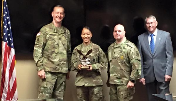 The ceremony of the U.S. Army 1st Recruiting Brigade's Center Leader of the Year Award.