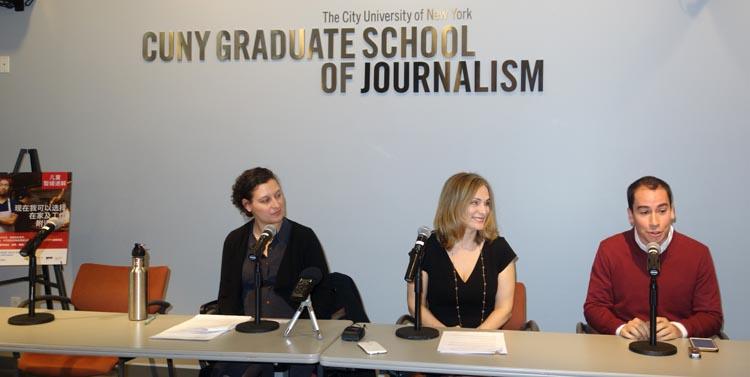 En la Escuela de Periodismo de CUNY, desde la izquierda, Bitta Mostofi, Amy R. Shefrin y César Andrade.