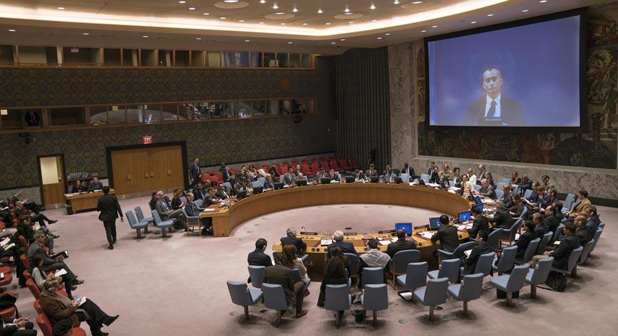 El Consejo de Seguridad de las Naciones Unidas debatiendo la paz entre Palestina e Israel. Foto: NOTIMEX/Oscar Frasser