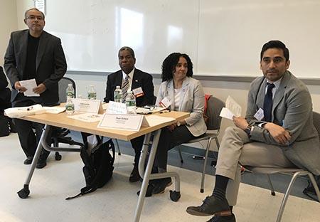 En el panel de derechos civiles, desde la izquierda, jaime Estades, Eddie Cuesta, María Lozano y Theo Oshiro.