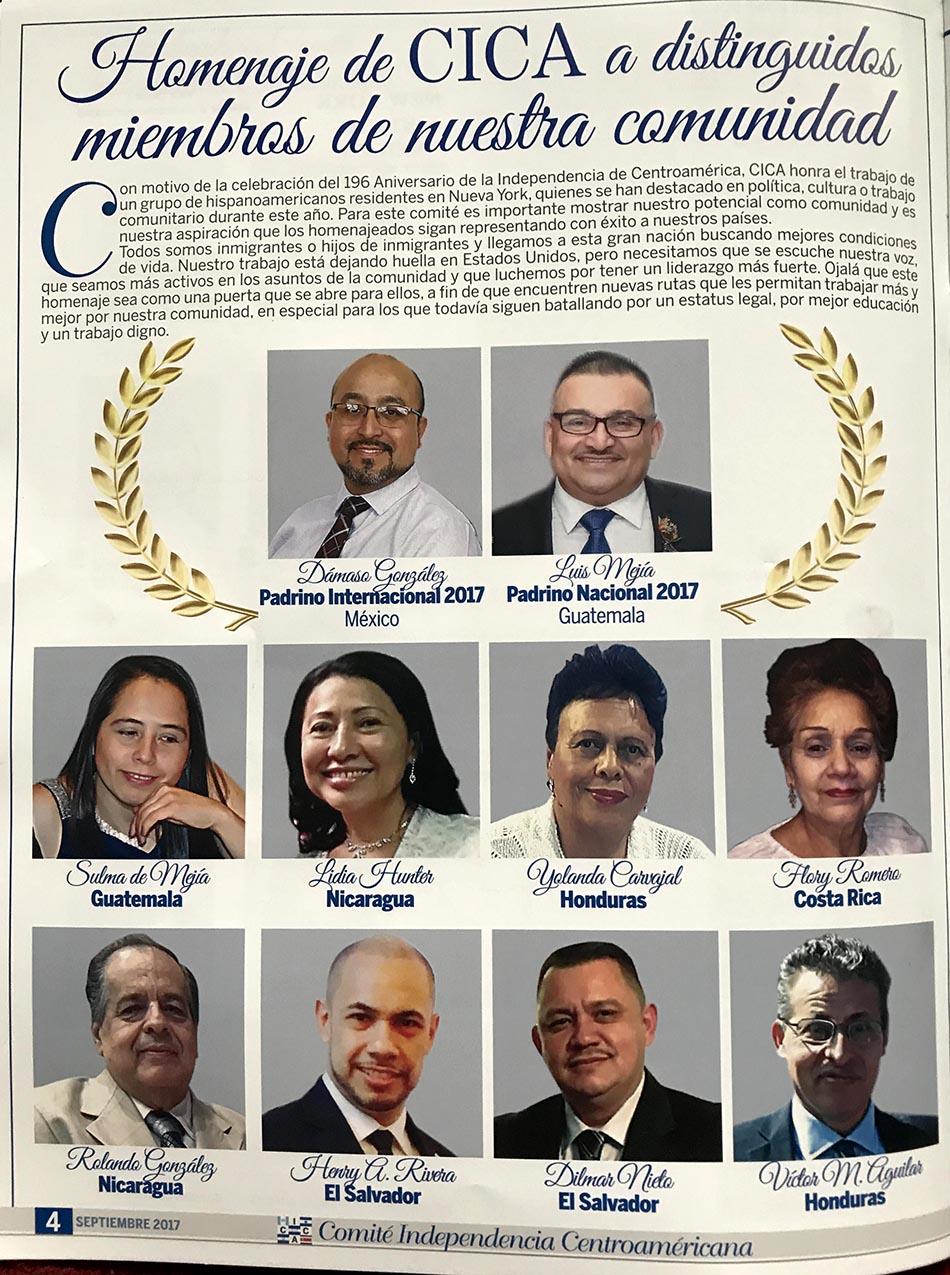 Los homenajeados por el Comité de Independencia de Centroamérica (CICA)
