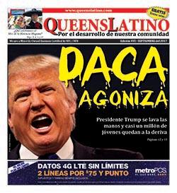 La portada de la edición de septiembre de QueensLatino. Diseños Ana Luisa Castaño