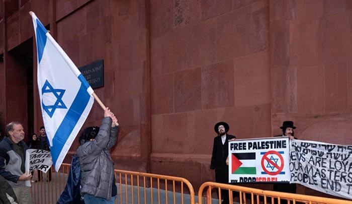 Protesta en NYU por presencia de palestina Linda Sarsour