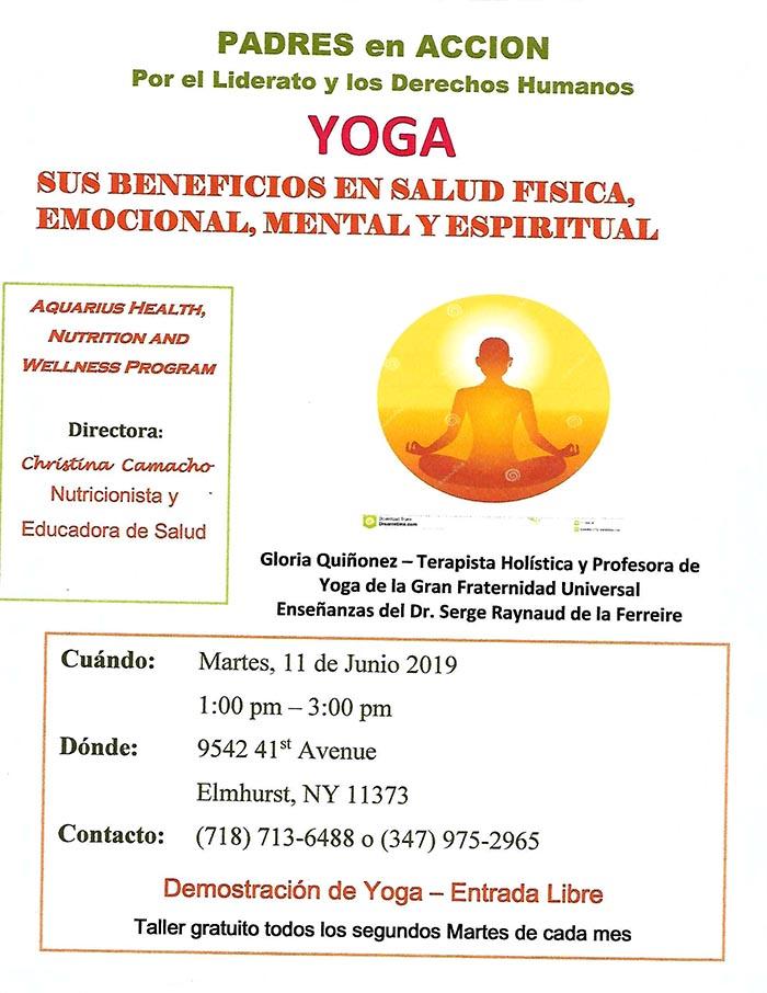 Clases de yoga en Padres en Acción el martes 11 de junio