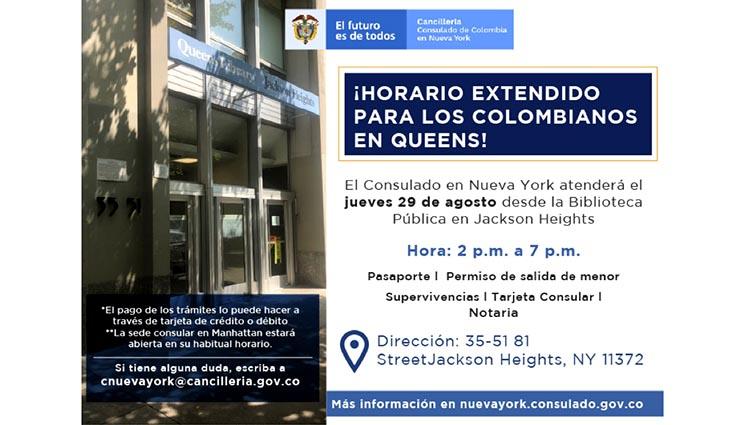 Consulado de Colombia en Queens el jueves 29 de agosto