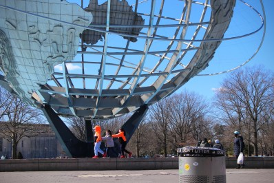 Unisphere with trash cans in Flushing Meadows-Corona Park