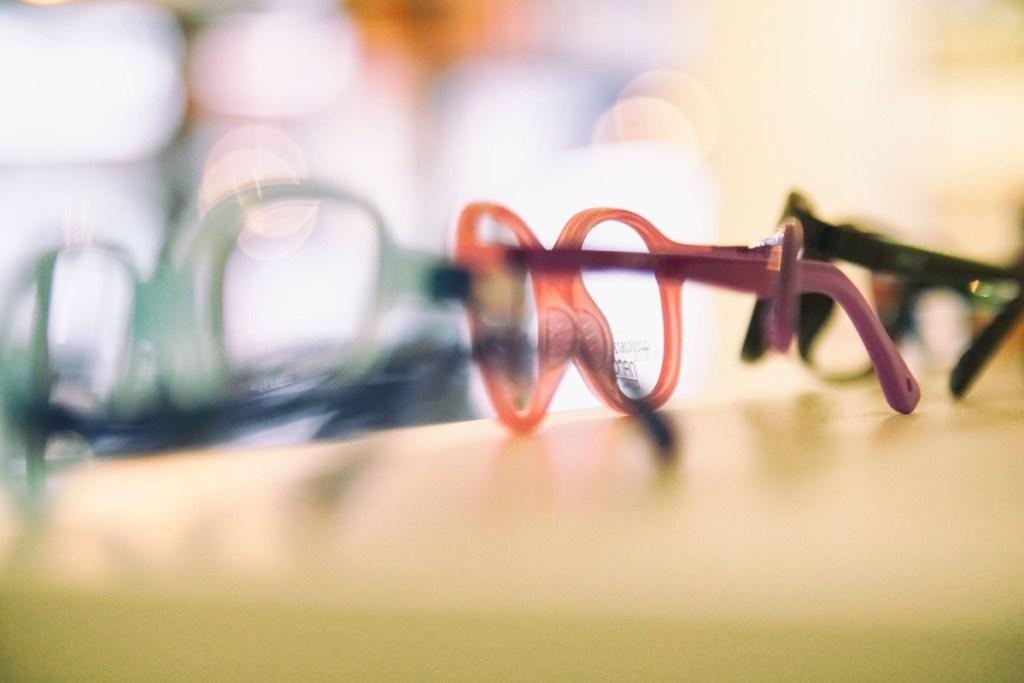 Eyeware on shelf in opticians