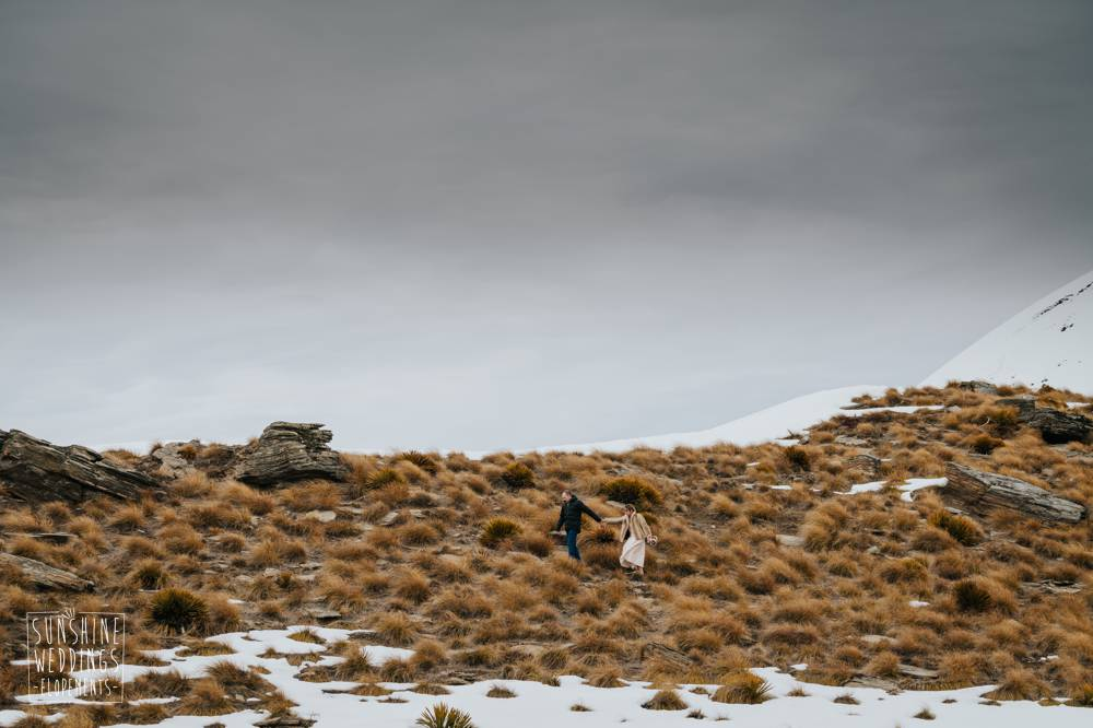 Mountain wedding with wedding couple on Cecil Peak