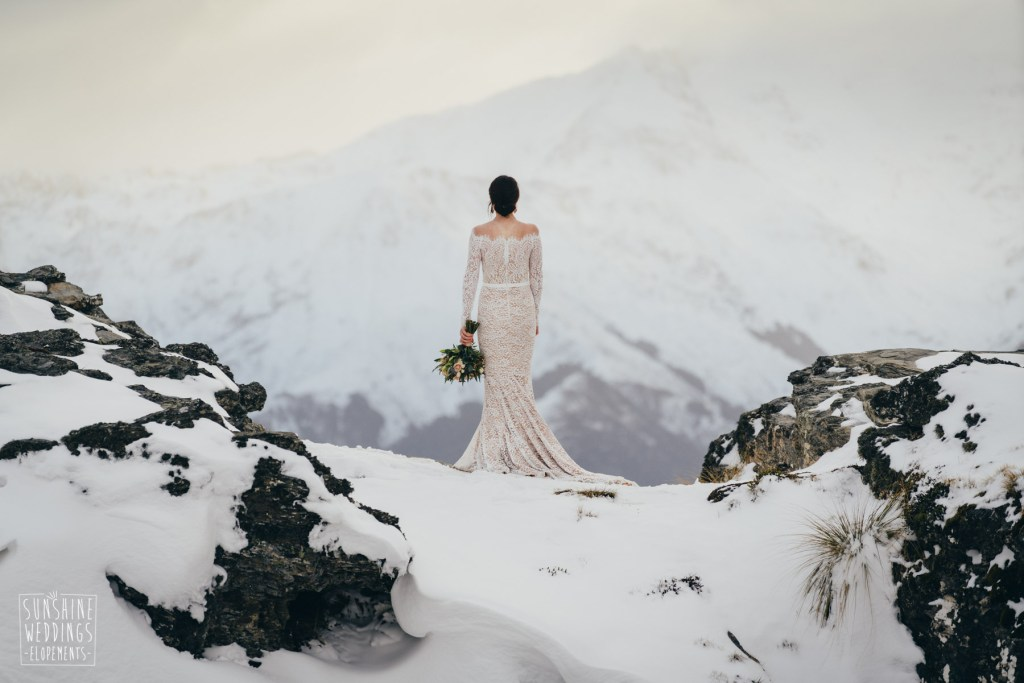 Bride in the snow on Cecil Peak