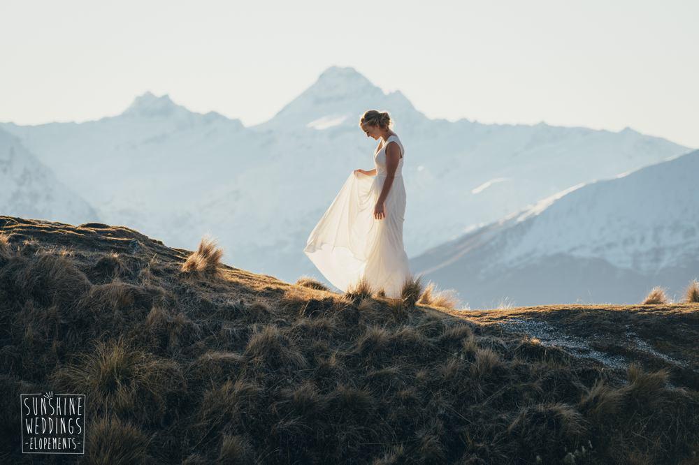 Bride mountain wedding New Zealand