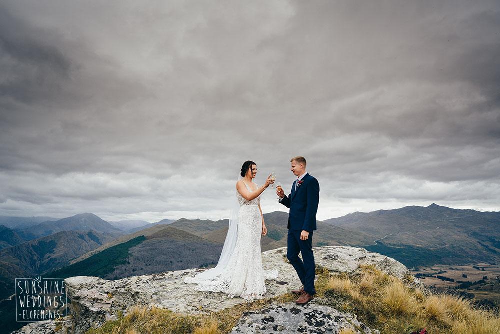 Queenstown hill elopement wedding ceremony