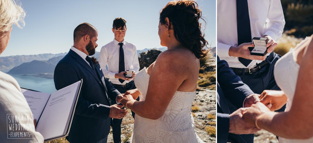 elopement wedding ceremony on Queenstown mountain