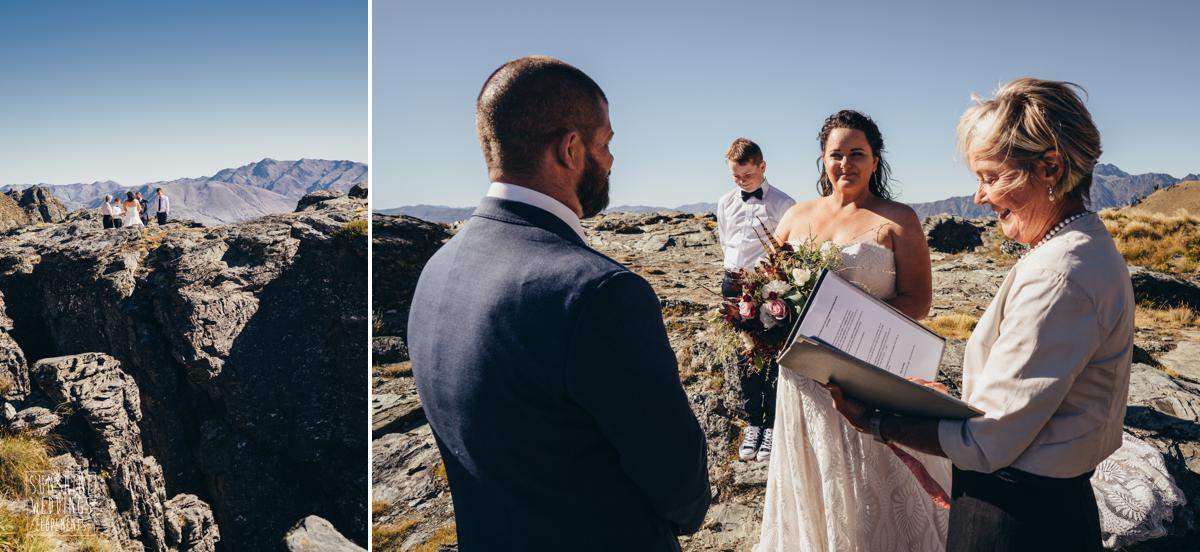 wedding ceremony at The Ledge Queenstown mountain