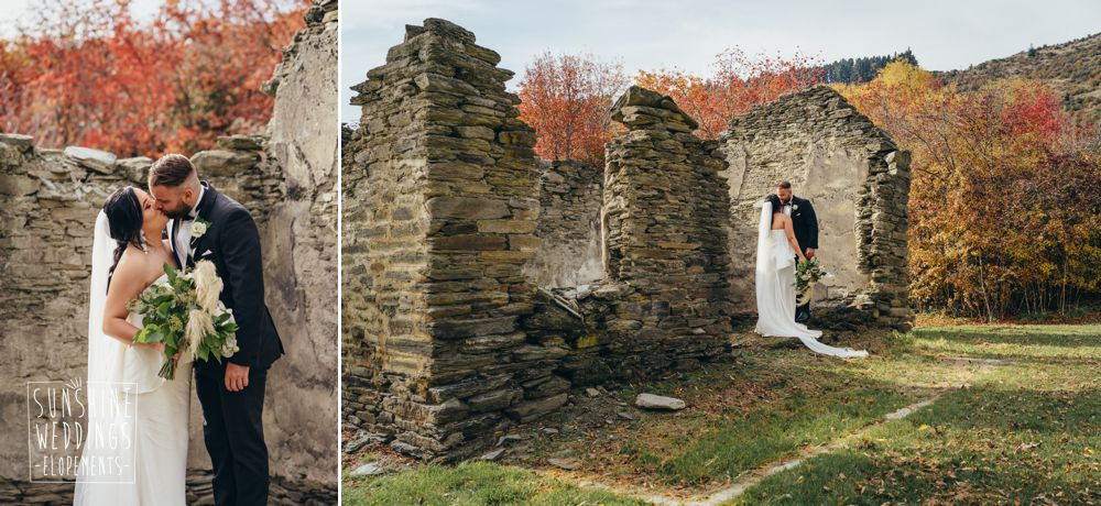 stone ruins photo shoot for wedding Queenstown