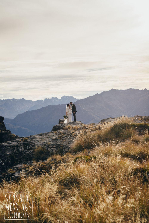 Queenstown mountain sunset wedding ceremony
