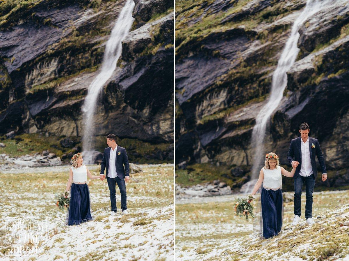 bride and groom waterfall elopement