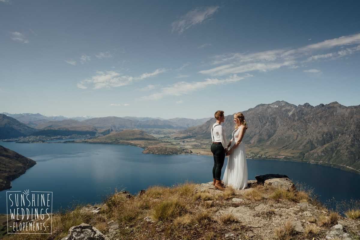 brides on top of mountain near queenstown