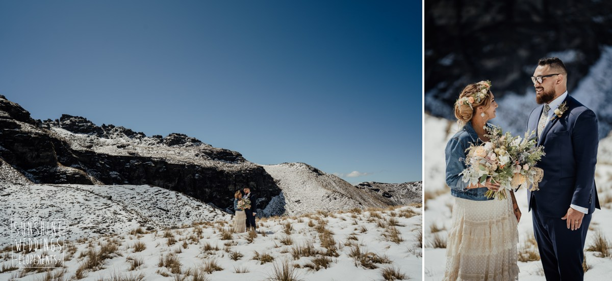 single landing mountain heli wedding