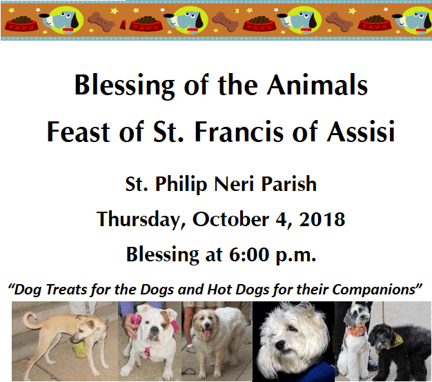 Blessing of the Animals : Thursday October 4th - The