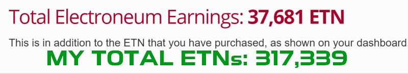 My Total Electroneums (ETNs) including 5% Referral Bonus ETNs