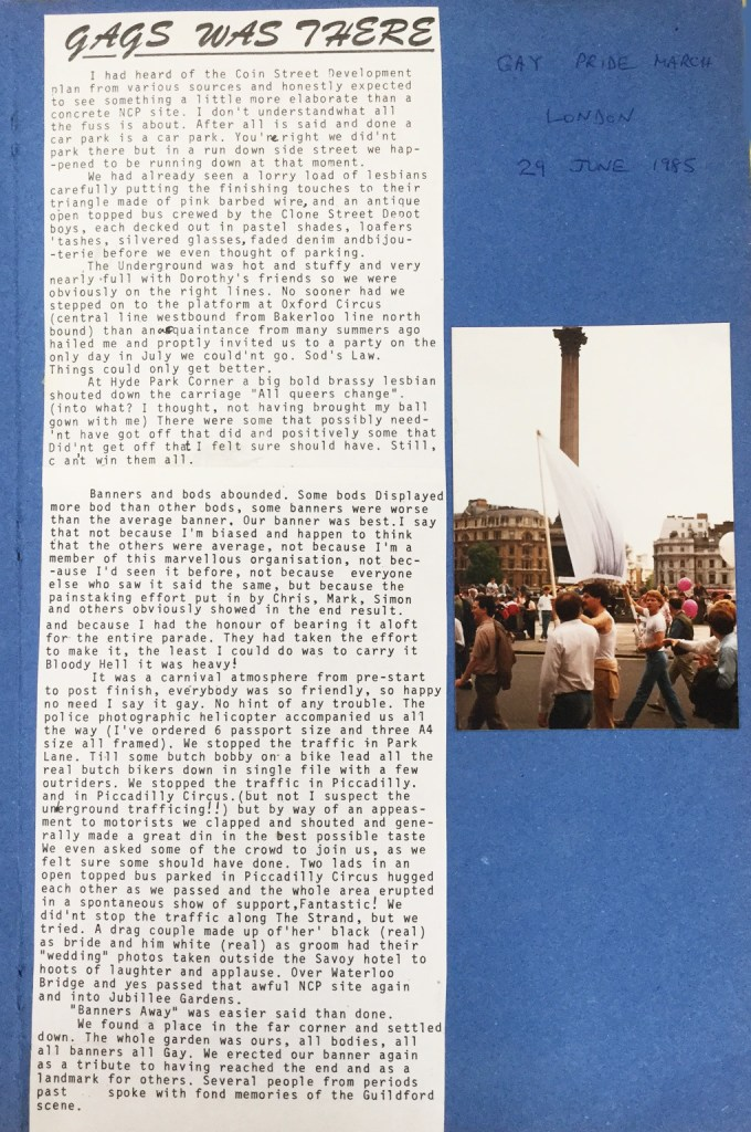 Report of the 1985 Pride march from the GAGS scrapbook (SHC ref 9745/4/5)