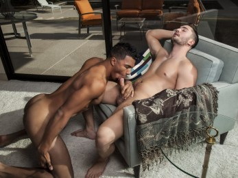 Preston Cole and Devon Felix look so hot together. Both are beefy with gorgeous eyes. Devon's dark skin looks so hot up against the alabaster skin of Preston. They both have long hard dicks and there is nothing hotter than watching a gay guy fuck a straight dude up the ass raw. Watch as Preston slides his uncut cock in Devon as he yells out in pain and ecstasy. He fucks him hard and roughs until finally he cums all over Devon's hairy butt and shoves the jizz back inside. Then Devon cums right in Preston's mouth. Be sure to check out the free gay porn pics of the hot bareback action here at Randy Blue.