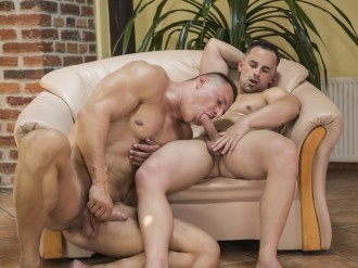 Luke Ward and Andy west are ripped as fuck. They are both jacked, juiced and stacked. This is one hot muscle fuck. They start with making out which leads to hot blow jobs of their hard uncut cocks. Then Luke fucks the hell out of Andy. He puts his raw dick inside of Andy's straight man butt. They fuck like rabbits until finally they both cum. Andy gets a hot cream pie as Luke shoves the cum deep inside of Andy's hole. Get the free gay porn pics of the hot bareback action here at Randy Blue Universe.