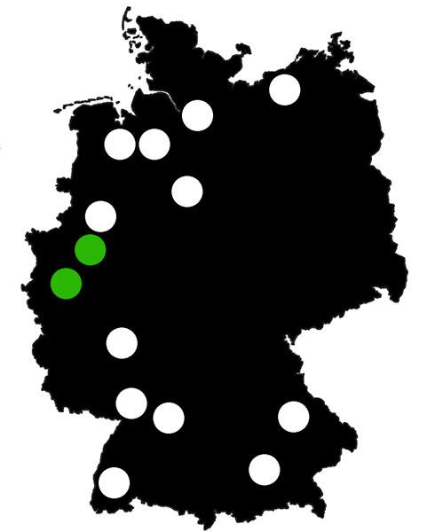 Queerscope, Deutschland-Karte mit Köln und Dortmund hervorgehoben