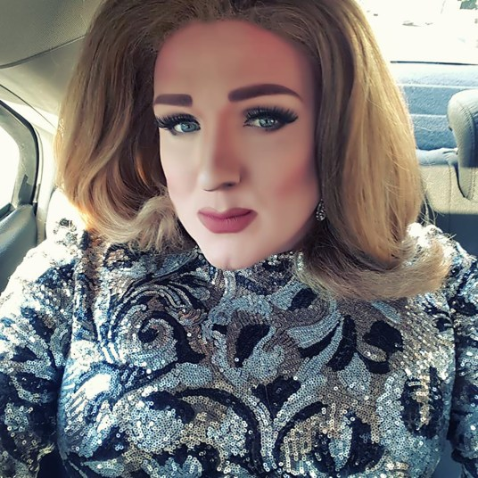 Kristi Champagne all decked out as Adele.