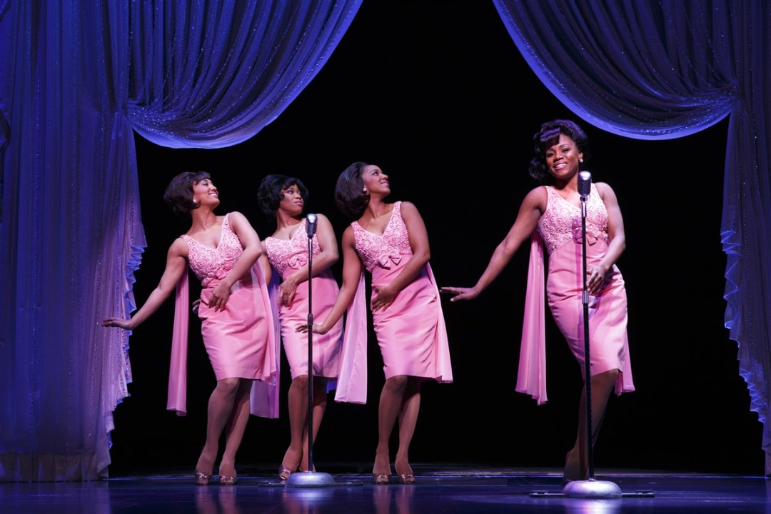 Britney Coleman, Rebecca E. Covington, Ashley Blanchet & Salisha Thomas as The Shirelles in the national tour of Beautiful: The Carole King Musical. Photo by Joan Marcus.