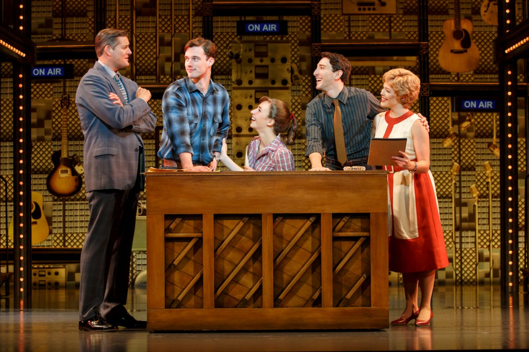 Curt Bouril, Liam Tobin, Julia Knitel, Ben Fankhauser, Erika Olsonin the national tour of Beautiful: The Carole King Musical. Photo by Joan Marcus