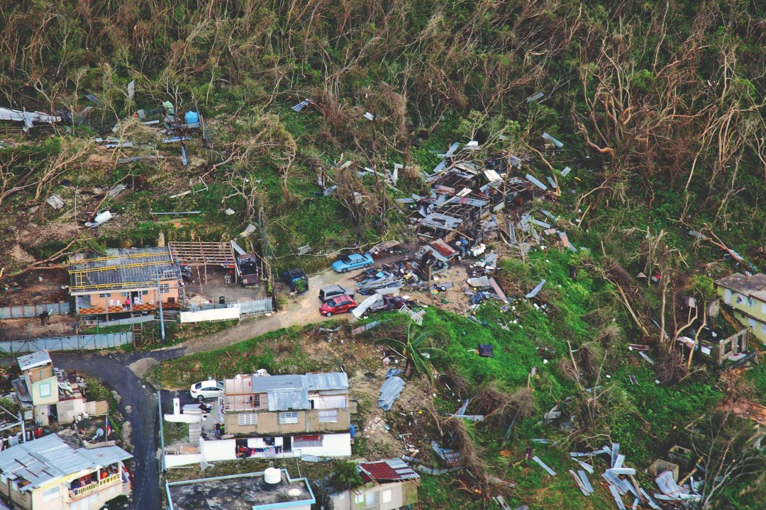 Homes lay in ruin as seen during a flyover of Puerto Rico after Hurricane Maria.