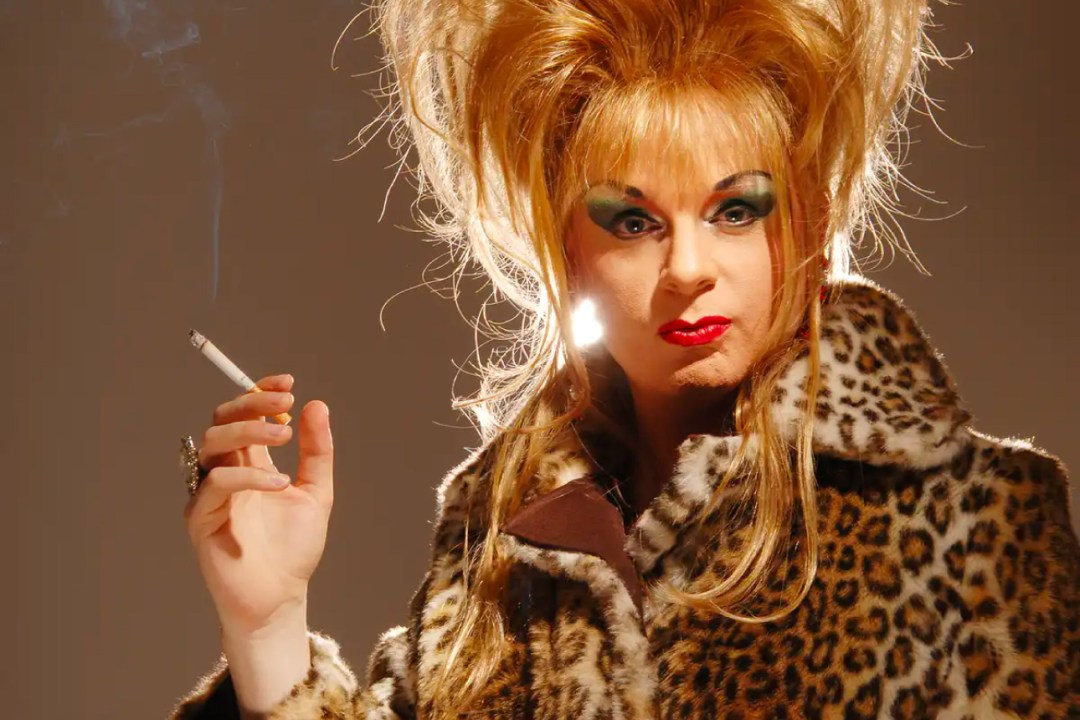 Gale Force, the drag persona of author Mark Edward who merges 'old school' with guerrilla drag practices.