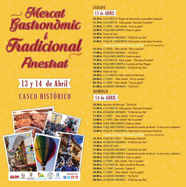 programación del mercat gastronomic i tradicional de finestrat 2019