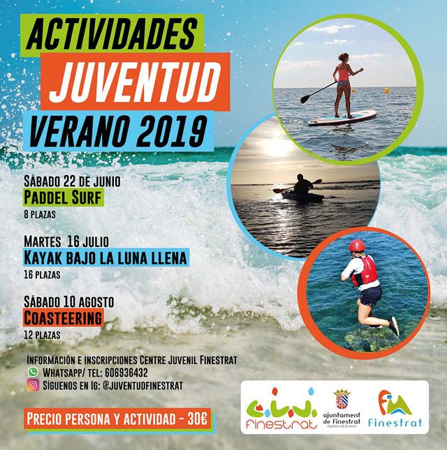 Actividades Verano Kayak bajo Luna Finestrat 2019